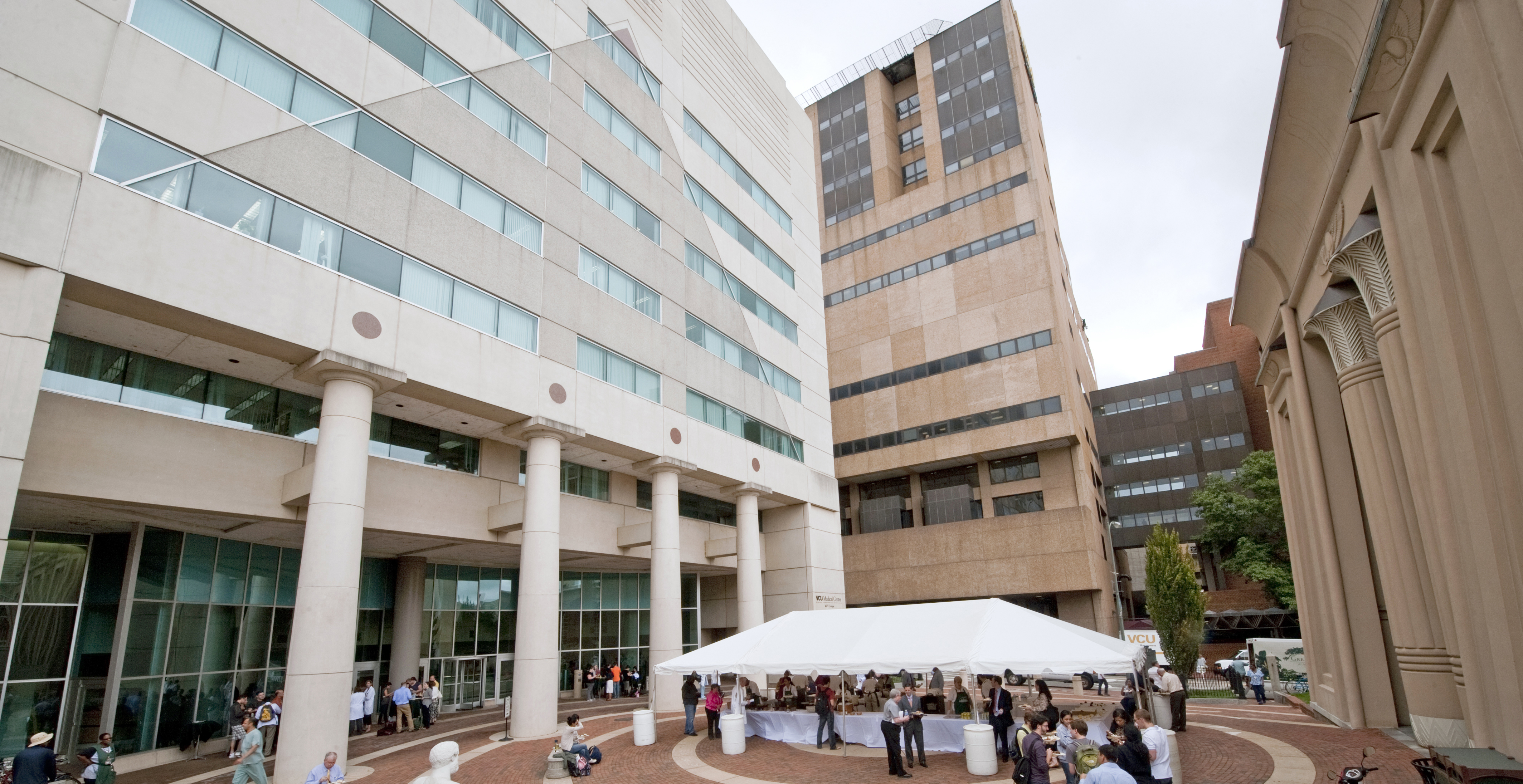 Students and faculty enjoy food outside of iconic MCV campus buildings